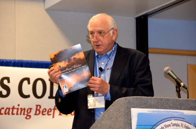 Paul Genho, president of Farmland Reserves, Inc. and past general manager of King Ranch discussed the importance of protecting agricultural water use during the Cattlemen's College held during the 2013 Cattle Industry Convention in Tampa, Fla. (Journal photo by Jennifer Carrico.)